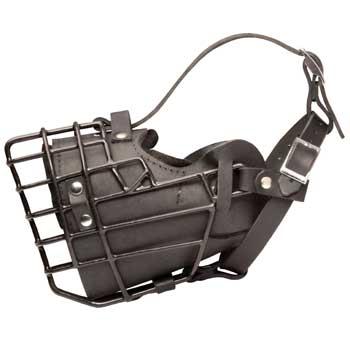 Leather Dog Muzzle Padded Metal Basket